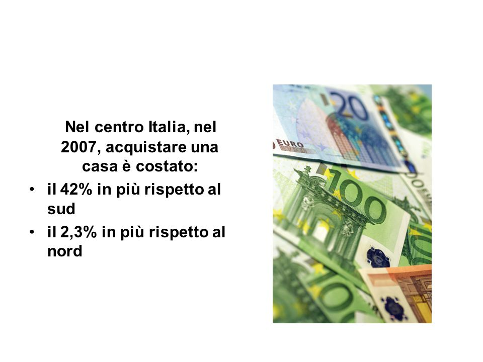 Nel centro Italia, nel 2007, acquistare una casa è costato: il 42% in più rispetto al sud il 2,3% in più rispetto al nord