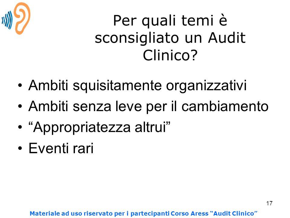 """17 Per quali temi è sconsigliato un Audit Clinico? Ambiti squisitamente organizzativi Ambiti senza leve per il cambiamento """"Appropriatezza altrui"""" Eve"""