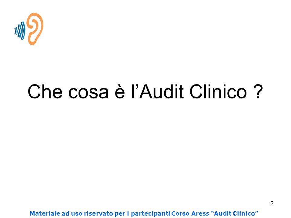 """2 Che cosa è l'Audit Clinico ? Materiale ad uso riservato per i partecipanti Corso Aress """"Audit Clinico"""""""