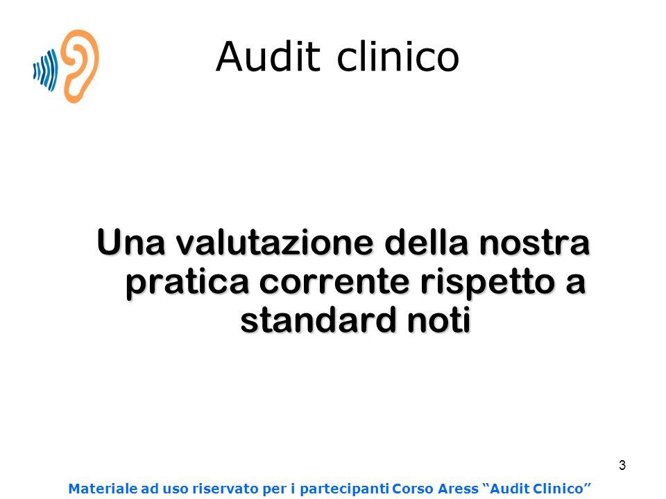 """3 Audit clinico Una valutazione della nostra pratica corrente rispetto a standard noti Materiale ad uso riservato per i partecipanti Corso Aress """"Audi"""