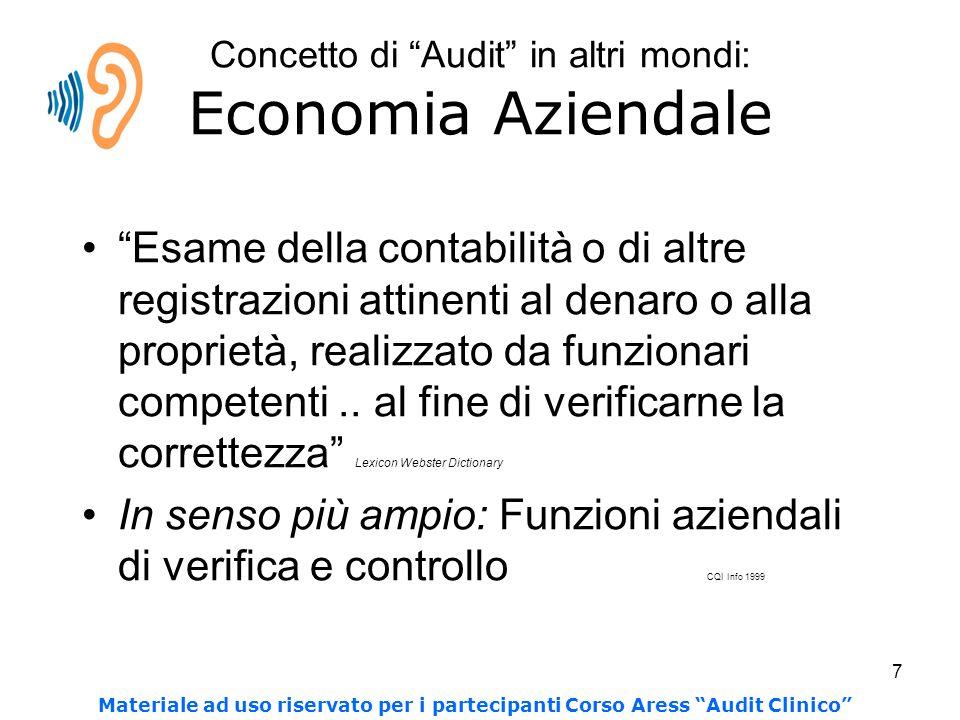 7 Concetto di Audit in altri mondi: Economia Aziendale Esame della contabilità o di altre registrazioni attinenti al denaro o alla proprietà, realizzato da funzionari competenti..