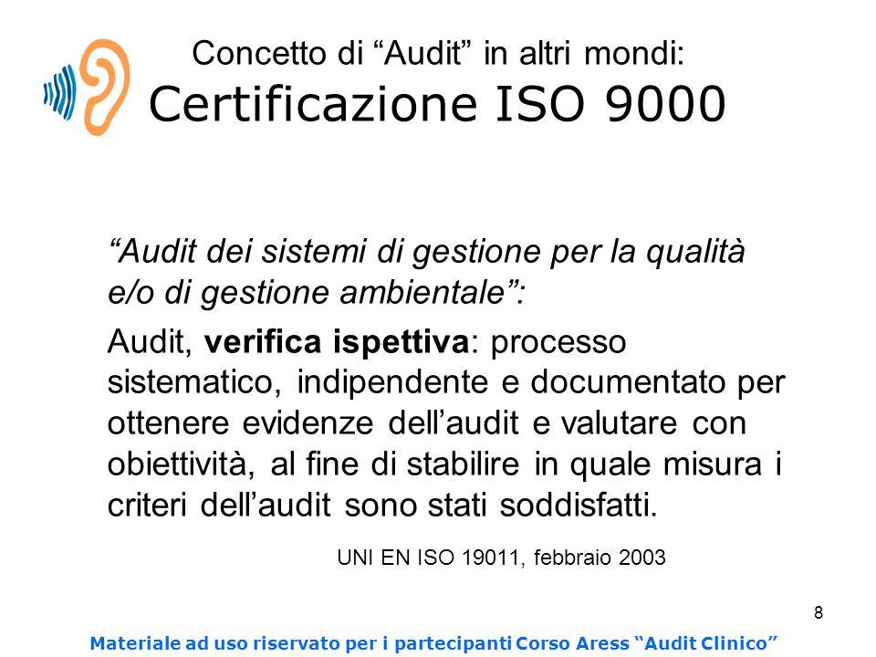 8 Concetto di Audit in altri mondi: Certificazione ISO 9000 Audit dei sistemi di gestione per la qualità e/o di gestione ambientale : Audit, verifica ispettiva: processo sistematico, indipendente e documentato per ottenere evidenze dell'audit e valutare con obiettività, al fine di stabilire in quale misura i criteri dell'audit sono stati soddisfatti.