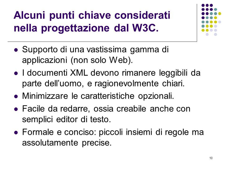 10 Alcuni punti chiave considerati nella progettazione dal W3C.