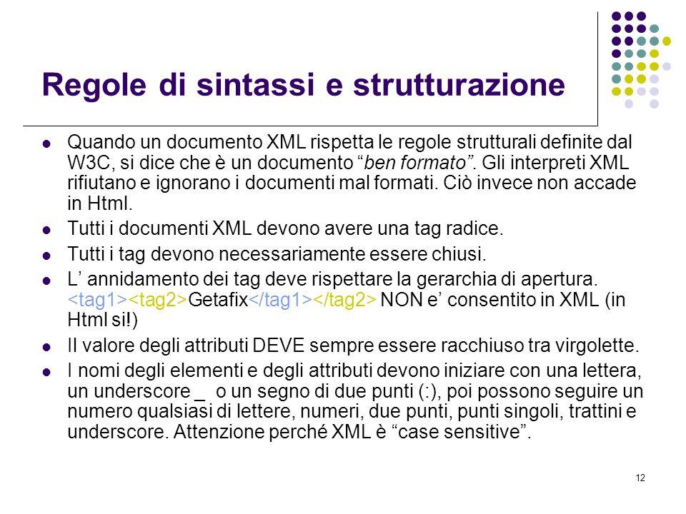 12 Regole di sintassi e strutturazione Quando un documento XML rispetta le regole strutturali definite dal W3C, si dice che è un documento ben formato .