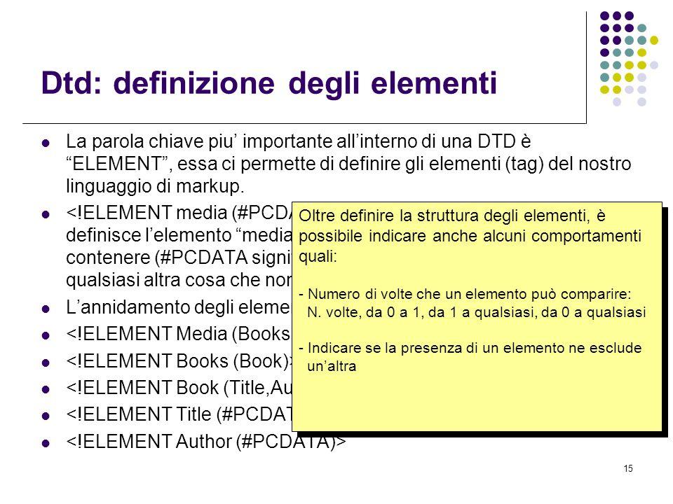 15 Dtd: definizione degli elementi La parola chiave piu' importante all'interno di una DTD è ELEMENT , essa ci permette di definire gli elementi (tag) del nostro linguaggio di markup..