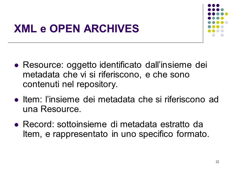 22 XML e OPEN ARCHIVES Resource: oggetto identificato dall'insieme dei metadata che vi si riferiscono, e che sono contenuti nel repository.