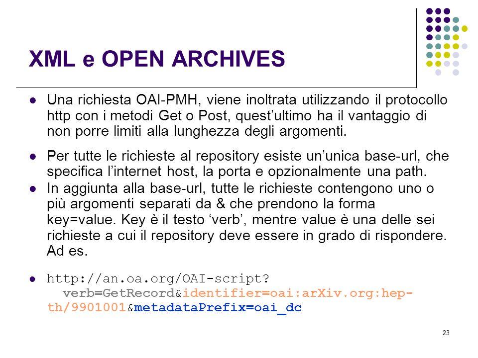 23 XML e OPEN ARCHIVES Una richiesta OAI-PMH, viene inoltrata utilizzando il protocollo http con i metodi Get o Post, quest'ultimo ha il vantaggio di non porre limiti alla lunghezza degli argomenti.