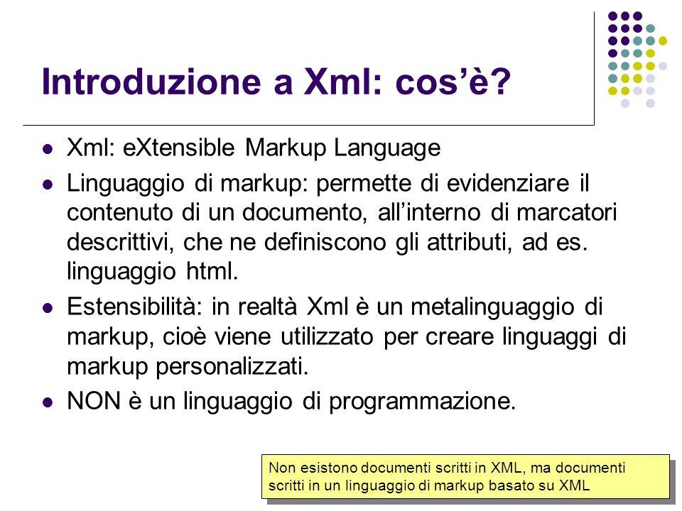 5 Alcune caratteristiche di XML Permette di organizzare a proprio piacimento le informazioni, consentendo di inviarle a chiunque in modo libero e gratuito.