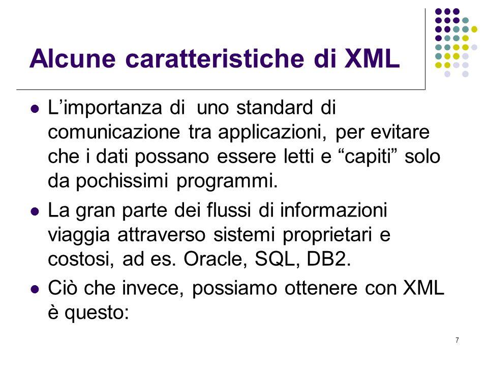 7 Alcune caratteristiche di XML L'importanza di uno standard di comunicazione tra applicazioni, per evitare che i dati possano essere letti e capiti solo da pochissimi programmi.