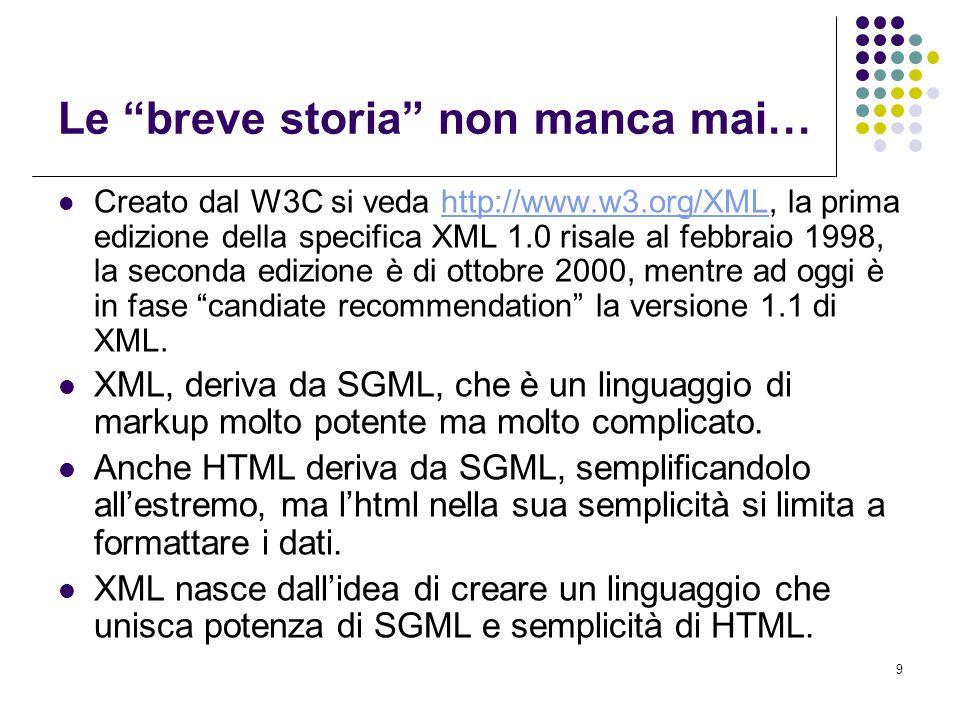 20 XML Schema: chiamata Per collegare un documento XML ad uno schema XML, si utilizza una notazione differente rispetto a DOCTYPE che si usava con le DTD.