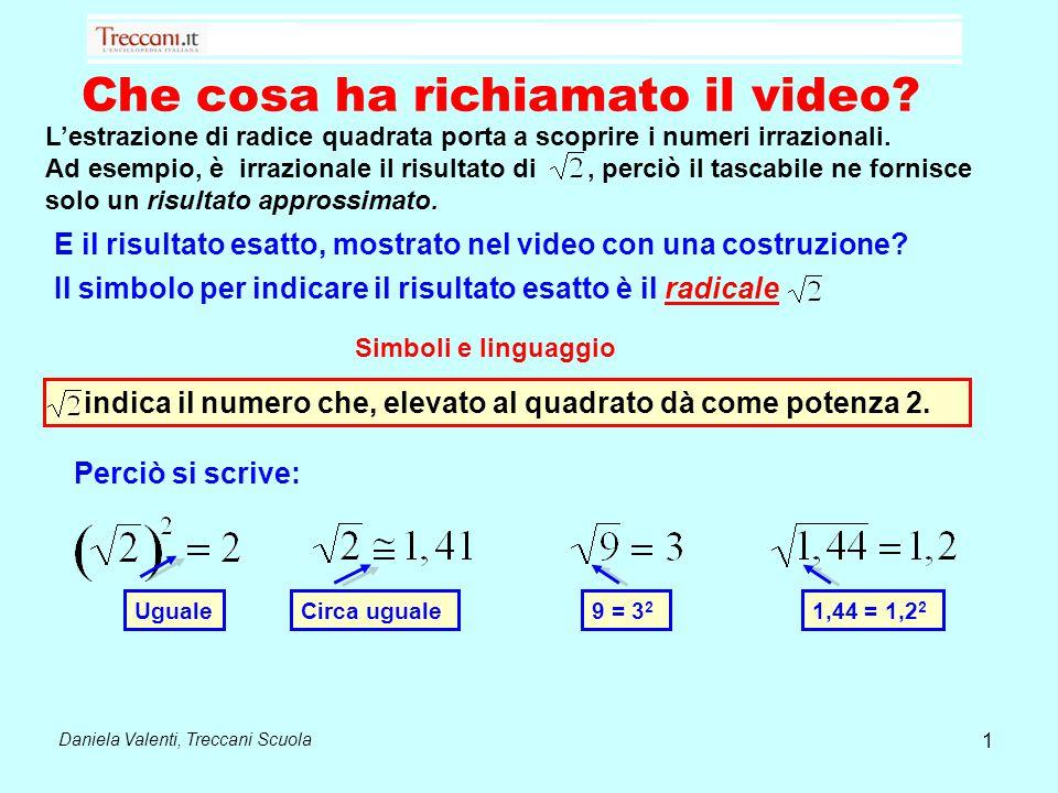 Che cosa ha richiamato il video? Daniela Valenti, Treccani Scuola L'estrazione di radice quadrata porta a scoprire i numeri irrazionali. Ad esempio, è