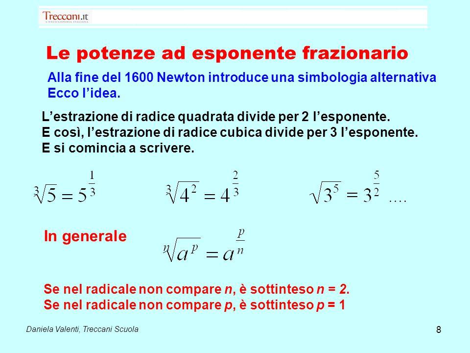 Daniela Valenti, Treccani Scuola Le potenze ad esponente frazionario Alla fine del 1600 Newton introduce una simbologia alternativa Ecco l'idea. 8 L'e