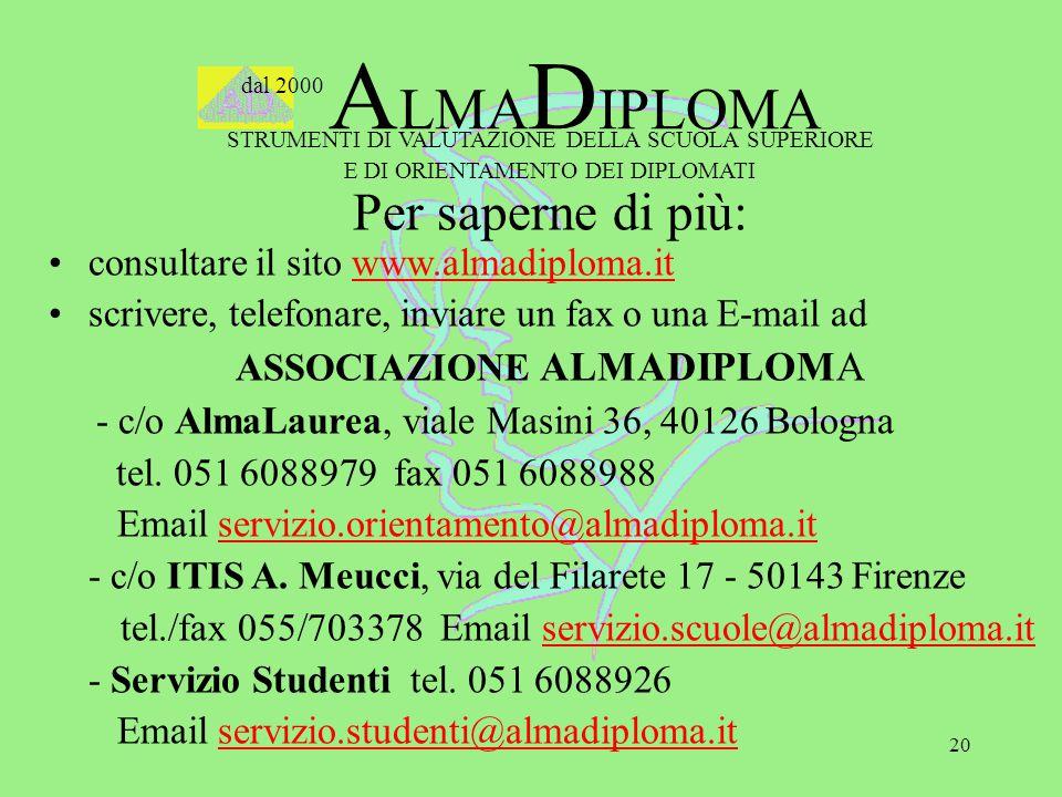 20 dal 2000 A LMA D IPLOMA STRUMENTI DI VALUTAZIONE DELLA SCUOLA SUPERIORE E DI ORIENTAMENTO DEI DIPLOMATI Per saperne di più: consultare il sito www.almadiploma.it scrivere, telefonare, inviare un fax o una E-mail ad ASSOCIAZIONE ALMADIPLOMA - c/o AlmaLaurea, viale Masini 36, 40126 Bologna tel.