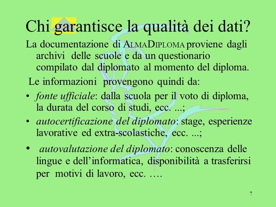 7 Chi garantisce la qualità dei dati? La documentazione di A LMA D IPLOMA proviene dagli archivi delle scuole e da un questionario compilato dal diplo