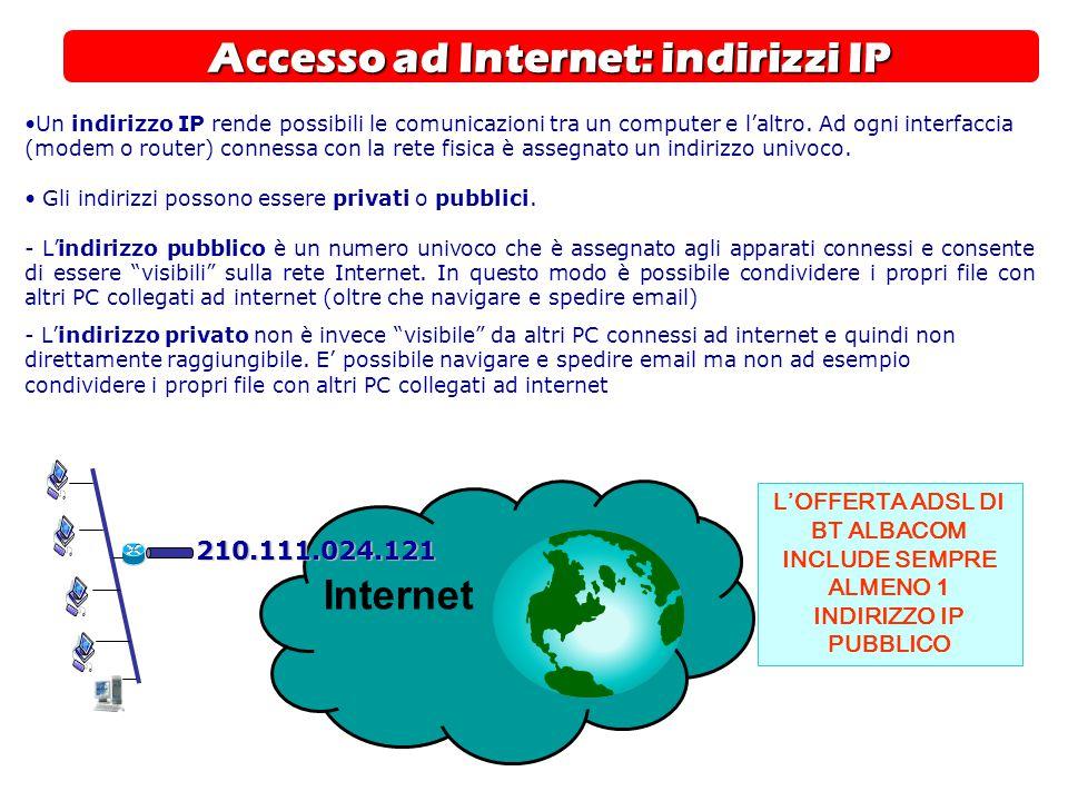Accesso ad Internet: indirizzi IP Internet 210.111.024.121 Un indirizzo IP rende possibili le comunicazioni tra un computer e l'altro. Ad ogni interfa
