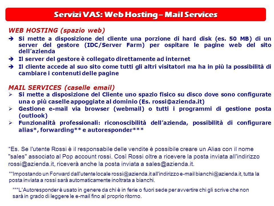 Servizi VAS: Web Hosting – Mail Services WEB HOSTING (spazio web)  Si mette a disposizione del cliente una porzione di hard disk (es. 50 MB) di un se