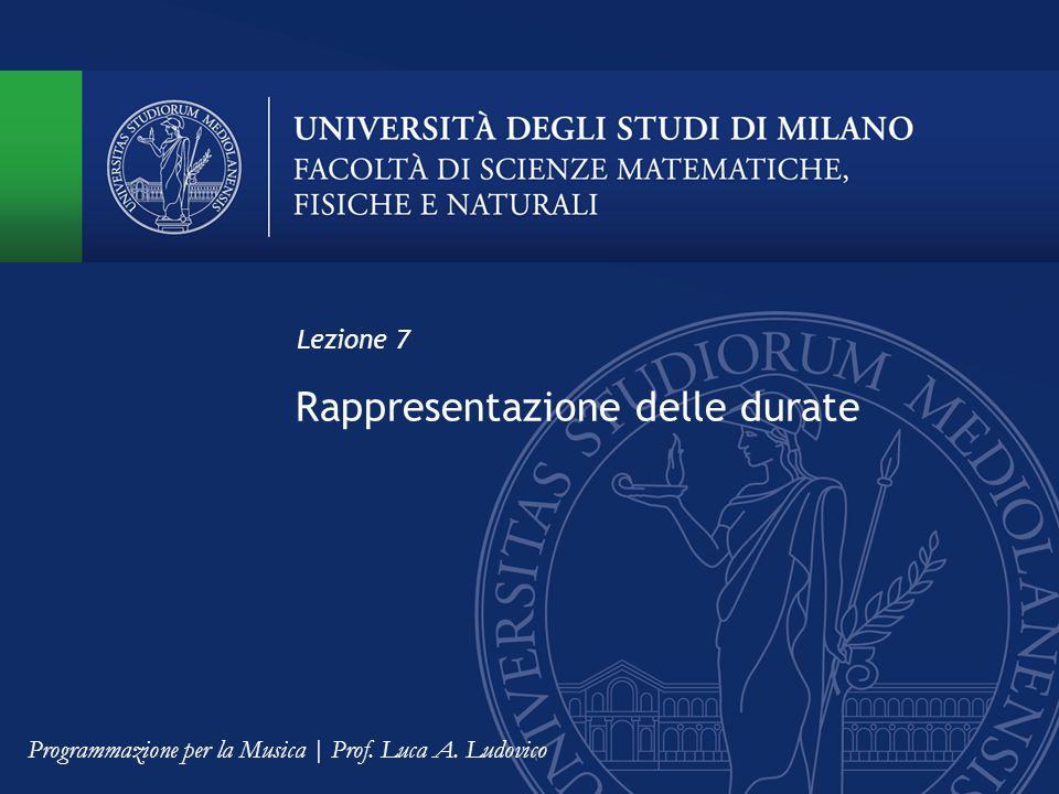 Rappresentazione delle durate Lezione 7 Programmazione per la Musica | Prof. Luca A. Ludovico