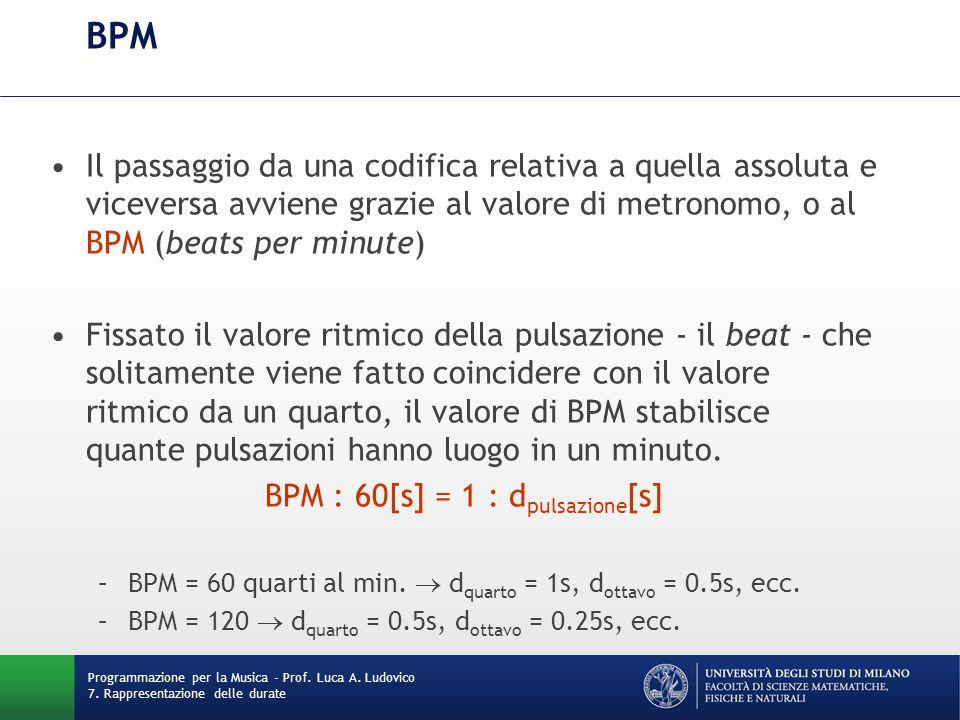 BPM Il passaggio da una codifica relativa a quella assoluta e viceversa avviene grazie al valore di metronomo, o al BPM (beats per minute) Fissato il valore ritmico della pulsazione - il beat - che solitamente viene fatto coincidere con il valore ritmico da un quarto, il valore di BPM stabilisce quante pulsazioni hanno luogo in un minuto.