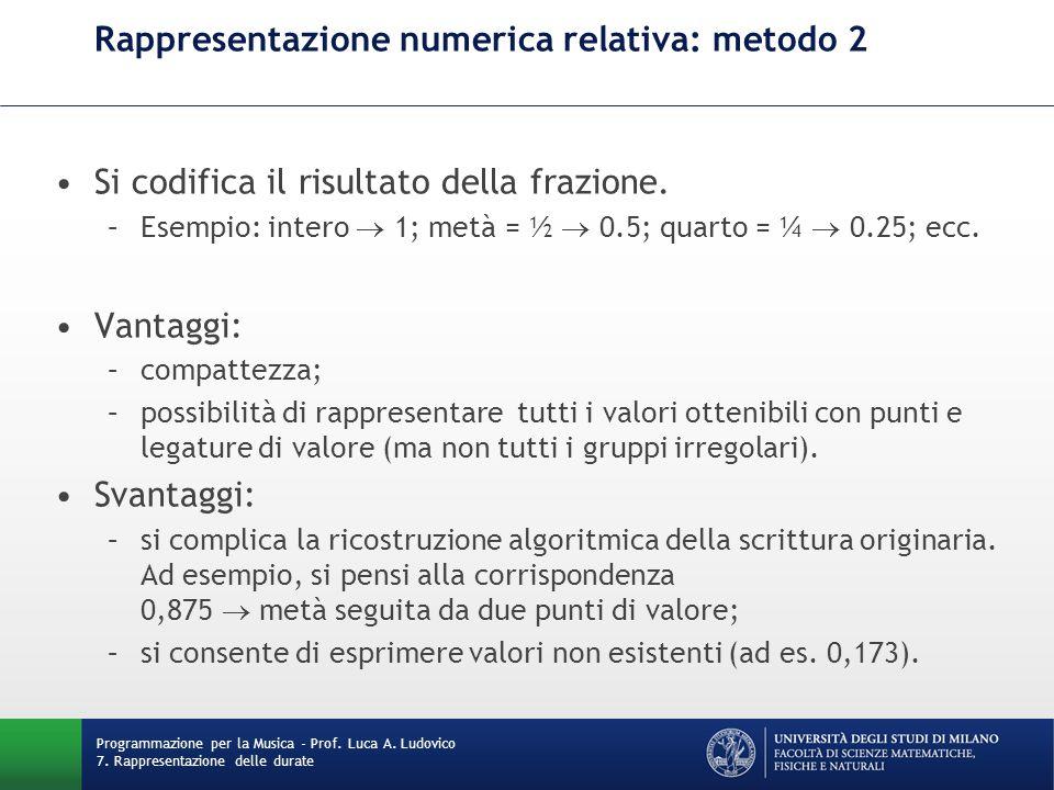 Rappresentazione numerica relativa: metodo 3 Si mantiene l'intera frazione, più eventuali informazioni aggiuntive (numero di punti di valore, ecc.) tramite un'opportuna struttura dati.