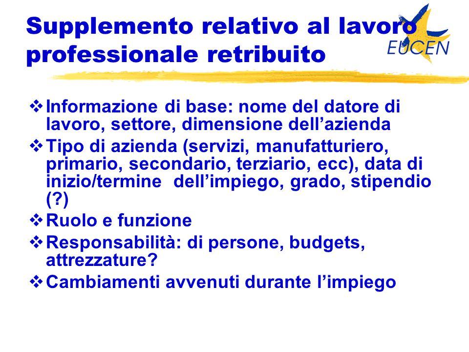 Supplemento relativo al lavoro professionale retribuito  Informazione di base: nome del datore di lavoro, settore, dimensione dell'azienda  Tipo di
