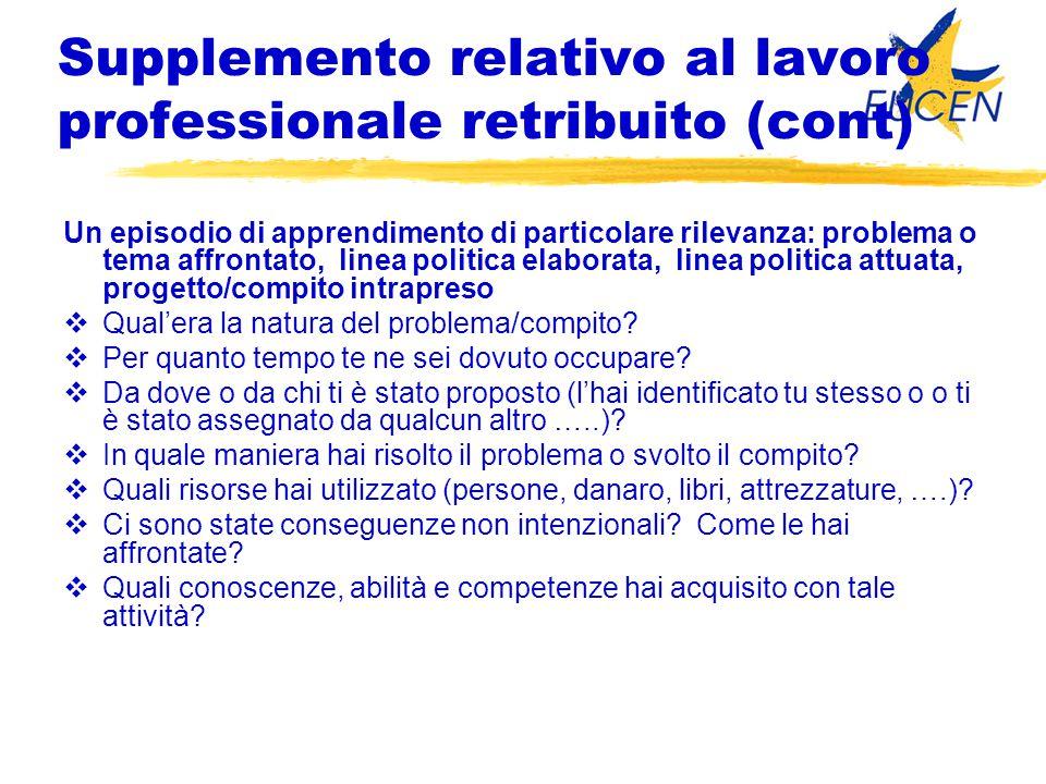 Supplemento relativo al lavoro professionale retribuito (cont) Un episodio di apprendimento di particolare rilevanza: problema o tema affrontato, line