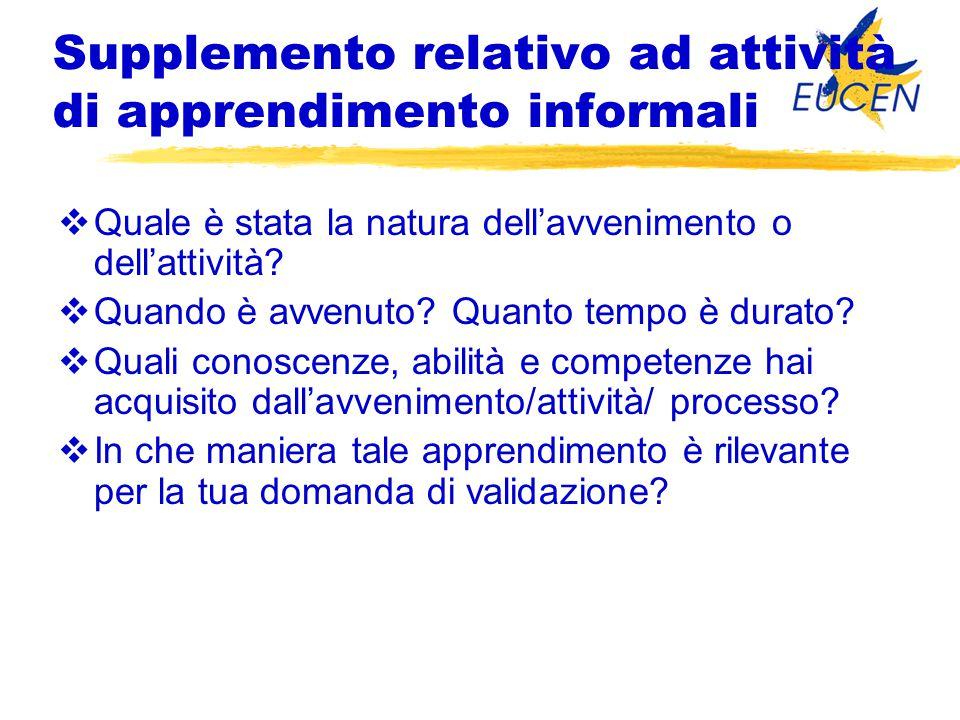 Supplemento relativo ad attività di apprendimento informali  Quale è stata la natura dell'avvenimento o dell'attività?  Quando è avvenuto? Quanto te