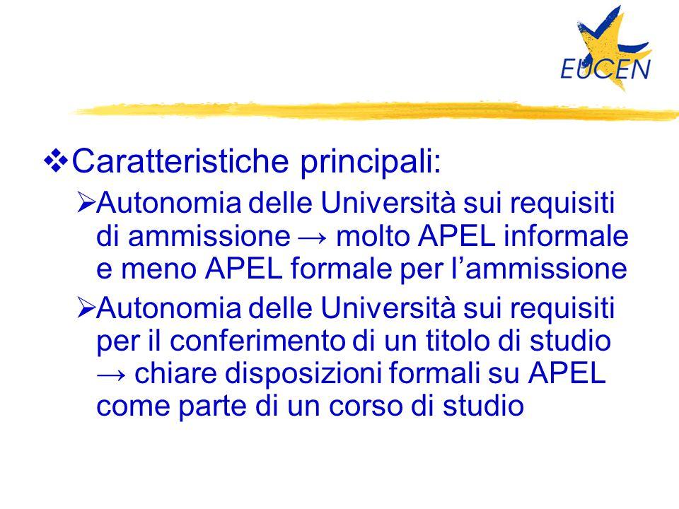  Caratteristiche principali:  Autonomia delle Università sui requisiti di ammissione → molto APEL informale e meno APEL formale per l'ammissione  A