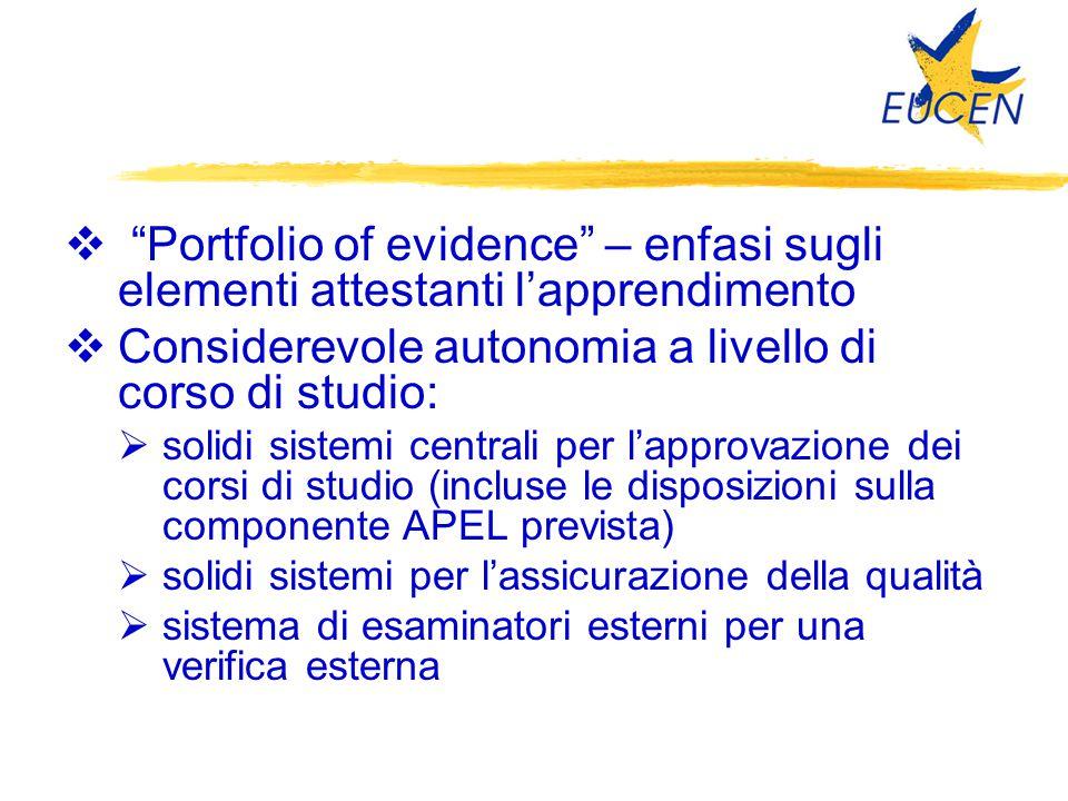 """ """"Portfolio of evidence"""" – enfasi sugli elementi attestanti l'apprendimento  Considerevole autonomia a livello di corso di studio:  solidi sistemi"""