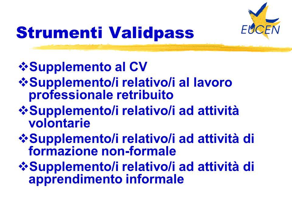 Strumenti Validpass  Supplemento al CV  Supplemento/i relativo/i al lavoro professionale retribuito  Supplemento/i relativo/i ad attività volontari