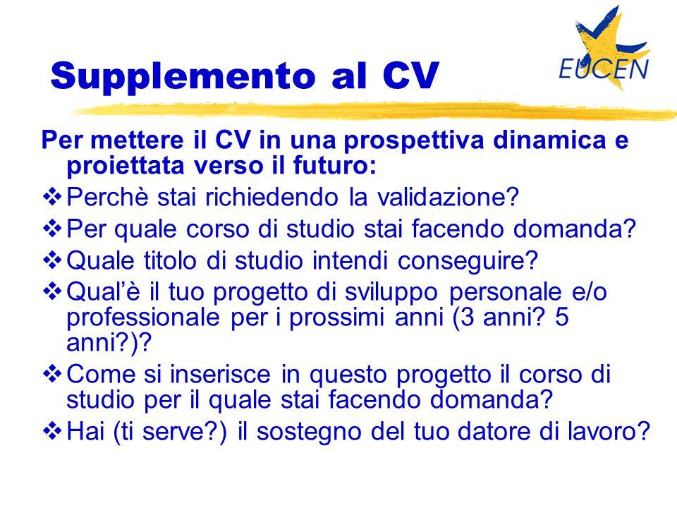 Supplemento al CV Per mettere il CV in una prospettiva dinamica e proiettata verso il futuro:  Perchè stai richiedendo la validazione?  Per quale co