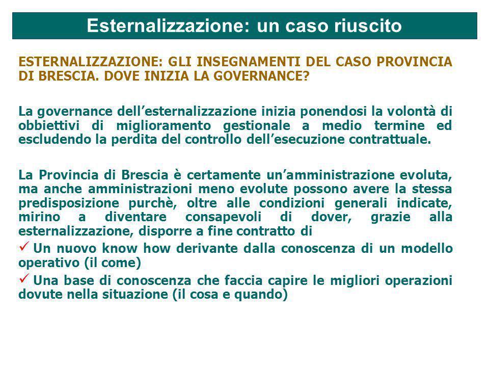 Esternalizzazione: un caso riuscito ESTERNALIZZAZIONE: GLI INSEGNAMENTI DEL CASO PROVINCIA DI BRESCIA.