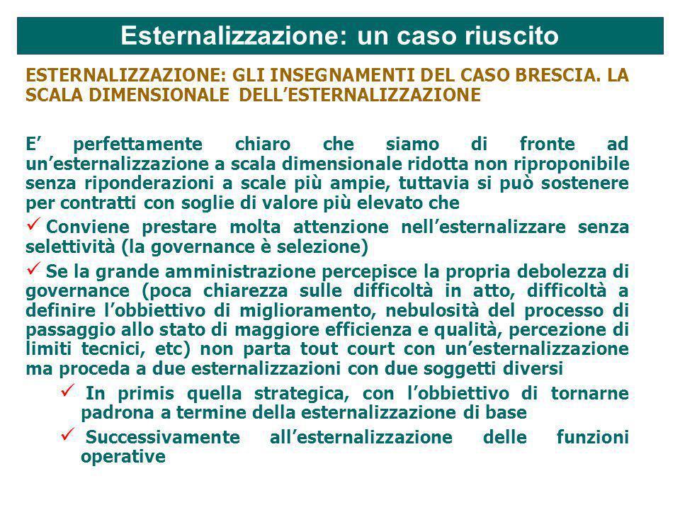 Esternalizzazione: un caso riuscito ESTERNALIZZAZIONE: GLI INSEGNAMENTI DEL CASO BRESCIA.