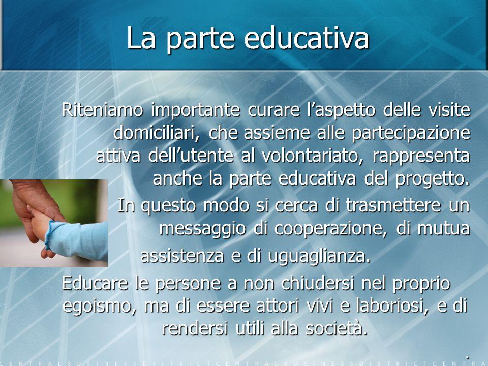 La parte educativa Riteniamo importante curare l'aspetto delle visite domiciliari, che assieme alle partecipazione attiva dell'utente al volontariato, rappresenta anche la parte educativa del progetto.