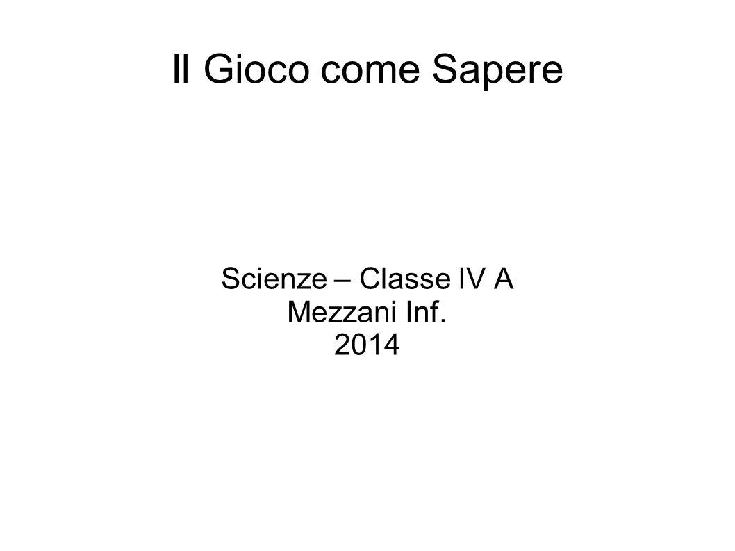 Il Gioco come Sapere Scienze – Classe IV A Mezzani Inf. 2014