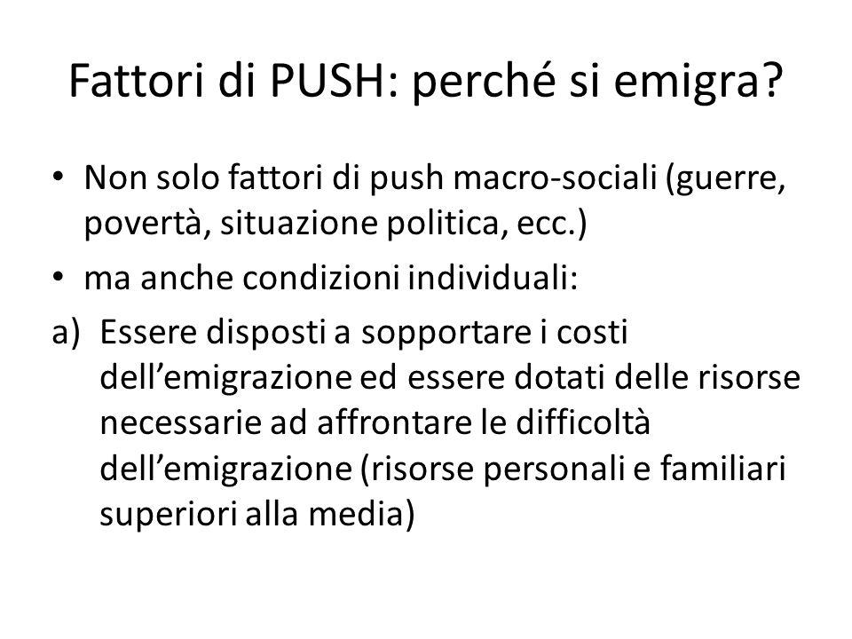 Fattori di PUSH: perché si emigra.