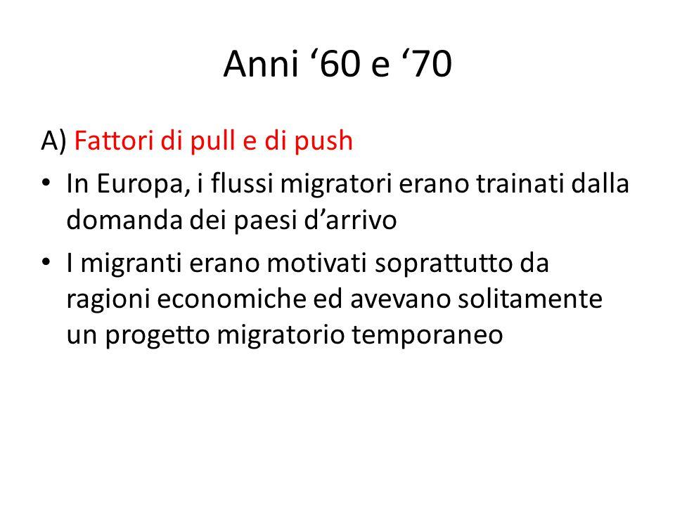 Anni '60 e '70 A) Fattori di pull e di push In Europa, i flussi migratori erano trainati dalla domanda dei paesi d'arrivo I migranti erano motivati soprattutto da ragioni economiche ed avevano solitamente un progetto migratorio temporaneo