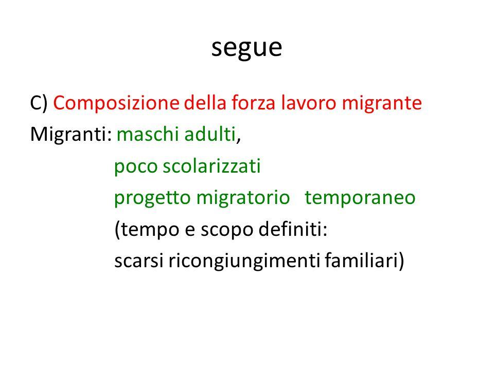 segue C) Composizione della forza lavoro migrante Migranti: maschi adulti, poco scolarizzati progetto migratorio temporaneo (tempo e scopo definiti: scarsi ricongiungimenti familiari)