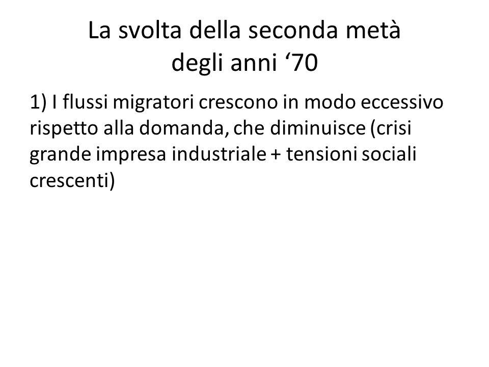 La svolta della seconda metà degli anni '70 1) I flussi migratori crescono in modo eccessivo rispetto alla domanda, che diminuisce (crisi grande impresa industriale + tensioni sociali crescenti)