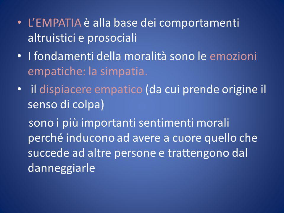 L'EMPATIA è alla base dei comportamenti altruistici e prosociali I fondamenti della moralità sono le emozioni empatiche: la simpatia. il dispiacere em