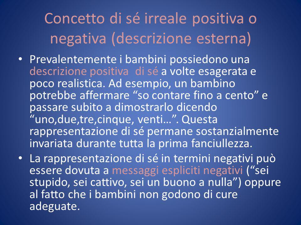 Concetto di sé irreale positiva o negativa (descrizione esterna) Prevalentemente i bambini possiedono una descrizione positiva di sé a volte esagerata
