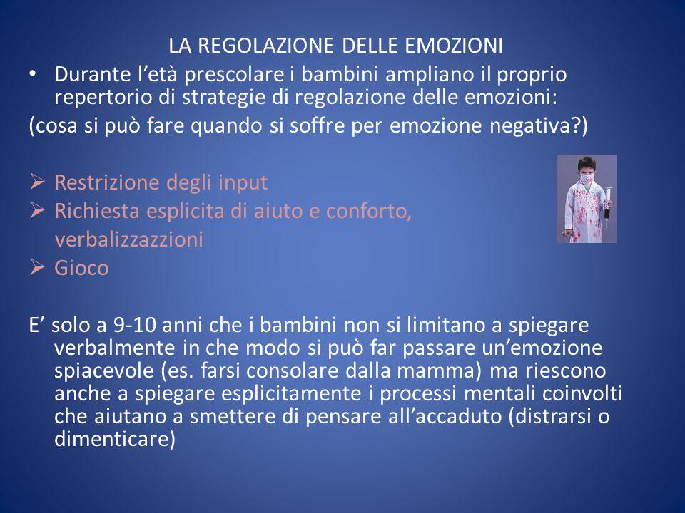 LA REGOLAZIONE DELLE EMOZIONI Durante l'età prescolare i bambini ampliano il proprio repertorio di strategie di regolazione delle emozioni: (cosa si p
