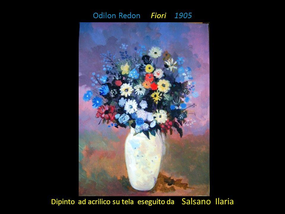 Odilon Redon Fiori 1905 Dipinto ad acrilico su tela eseguito da Salsano Ilaria