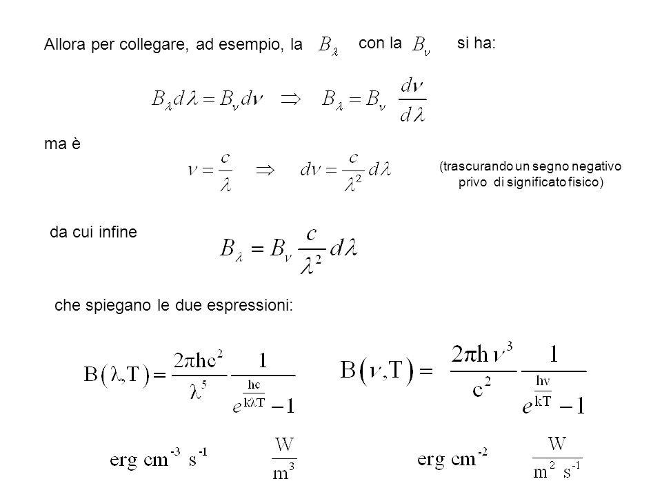 Allora per collegare, ad esempio, la con la ma è (trascurando un segno negativo privo di significato fisico) si ha: da cui infine che spiegano le due espressioni: