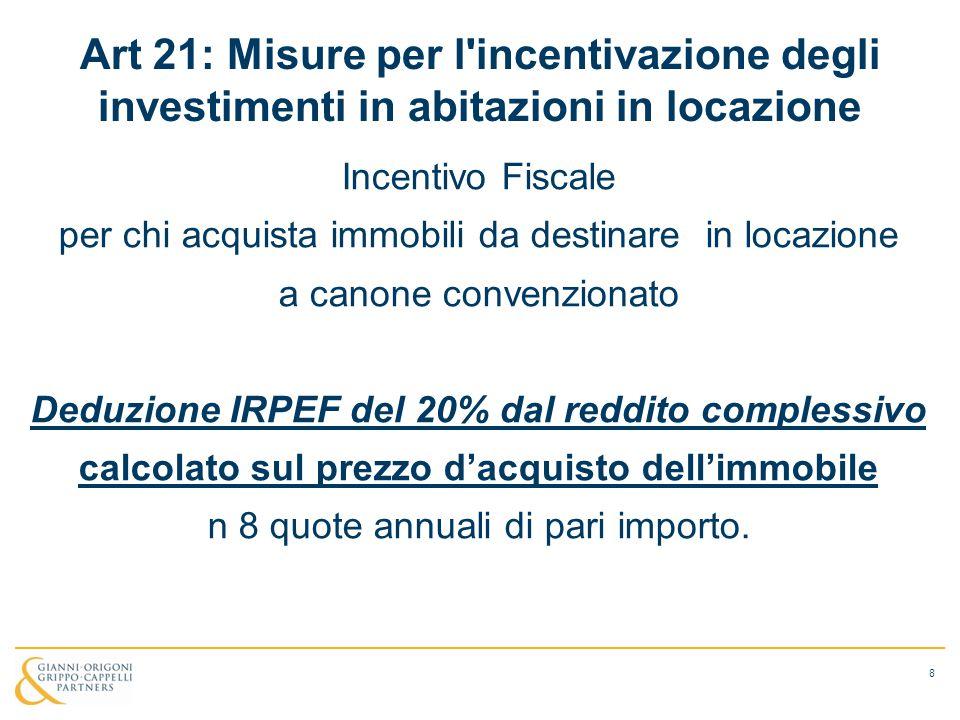 Art 21: Misure per l'incentivazione degli investimenti in abitazioni in locazione Incentivo Fiscale per chi acquista immobili da destinare in locazion