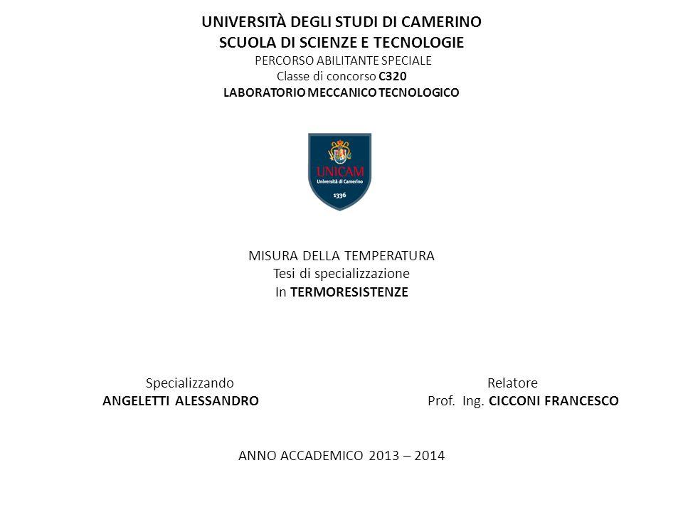 UNIVERSITÀ DEGLI STUDI DI CAMERINO SCUOLA DI SCIENZE E TECNOLOGIE PERCORSO ABILITANTE SPECIALE Classe di concorso C320 LABORATORIO MECCANICO TECNOLOGI