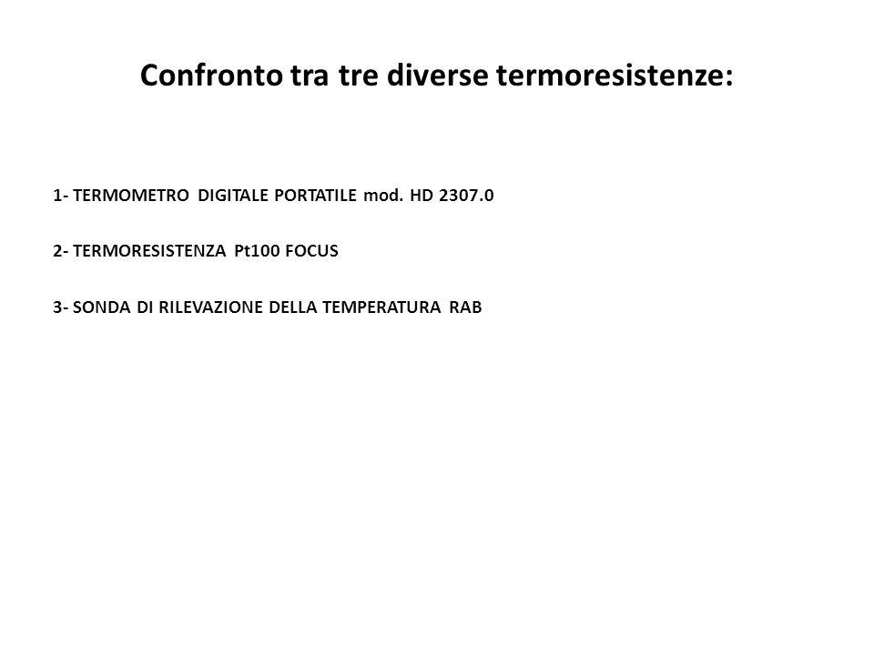 Confronto tra tre diverse termoresistenze: 1- TERMOMETRO DIGITALE PORTATILE mod. HD 2307.0 2- TERMORESISTENZA Pt100 FOCUS 3- SONDA DI RILEVAZIONE DELL