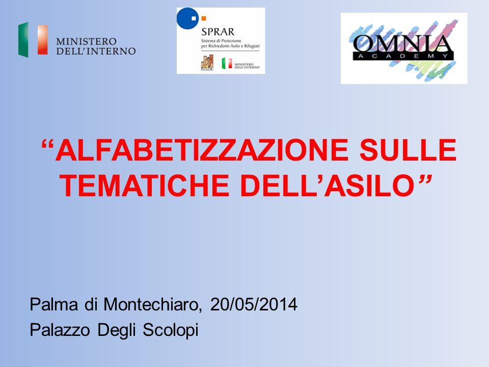 """""""ALFABETIZZAZIONE SULLE TEMATICHE DELL'ASILO"""" Palma di Montechiaro, 20/05/2014 Palazzo Degli Scolopi"""