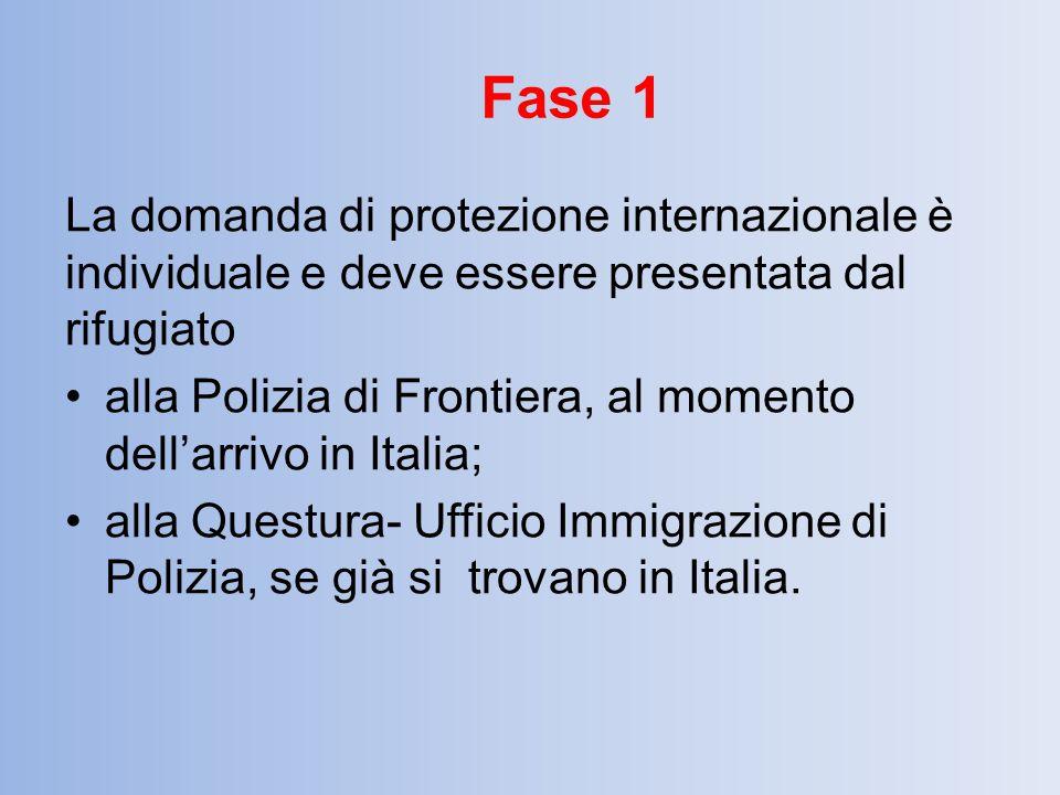 La domanda di protezione internazionale è individuale e deve essere presentata dal rifugiato alla Polizia di Frontiera, al momento dell'arrivo in Ital