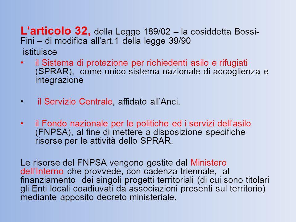 L'articolo 32, della Legge 189/02 – la cosiddetta Bossi- Fini – di modifica all'art.1 della legge 39/90 istituisce il Sistema di protezione per richie