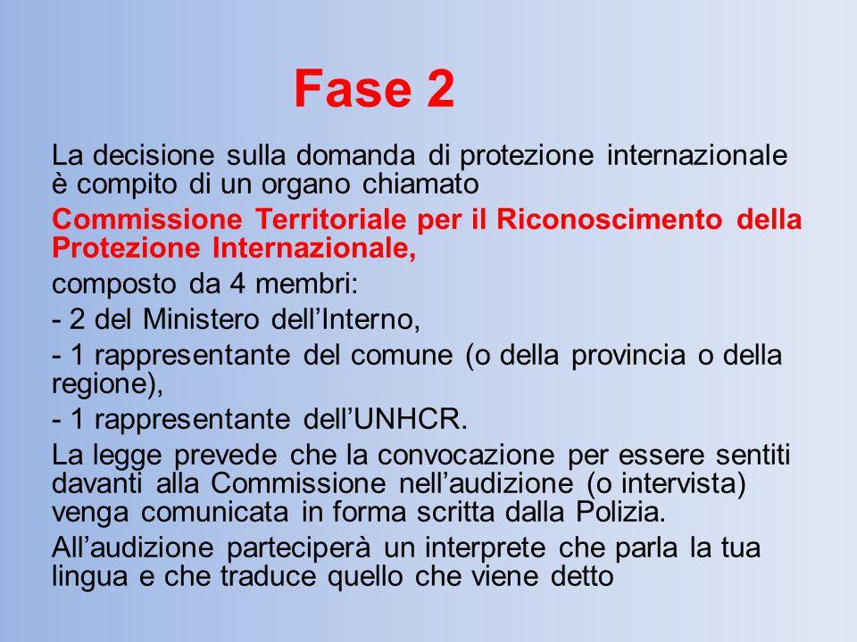 La decisione sulla domanda di protezione internazionale è compito di un organo chiamato Commissione Territoriale per il Riconoscimento della Protezion